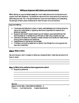 Argumentative Essay Scaffolding Tool