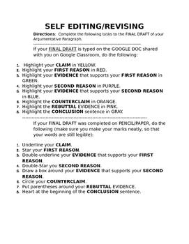 Argumentative Writing - Self & Peer Editing/Revising Checklist