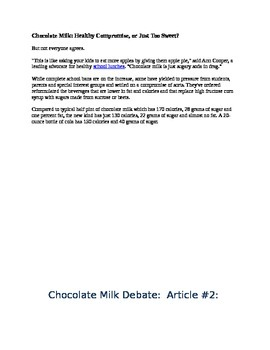 Argumentative Writing: Should Chocolate Milk Be Banned from School Lunches?