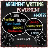 Argumentative Writing Slideshow & Notes Middle School ELA