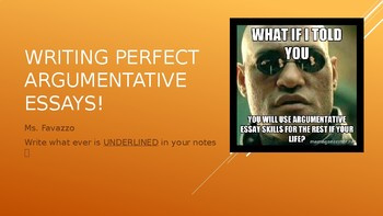 Argumentative Writing Strategies PPT