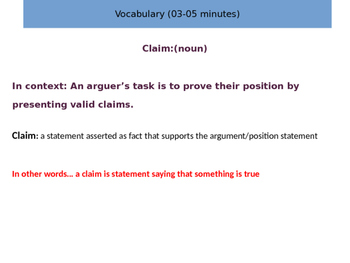 Argumentative Writing Structure Intro Lesson