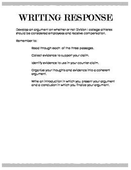 Argumentative Writing - Student Athletes as Employees