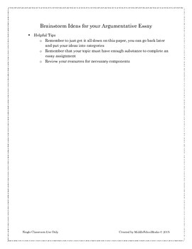 Argumentative Writing Student Packet