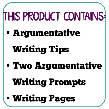Argumentative Writing Tips and Essay Activity