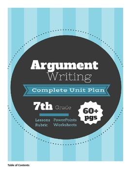 Argumentative Writing Unit Plan