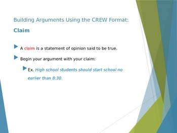 Argumentative Writing Vocabulary: Building an Argument Using the CREW Format