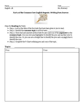 Argumentative Writing with Organizer and Article