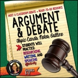 Argument and Debate Mini Unit Topic Cards, Outline, Notes