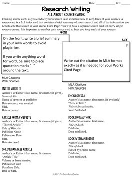 mla format source cards reference sheet and graphic organizer tpt