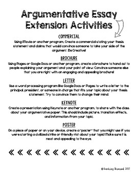 Argumentative or Opinion Essay Extension Activities