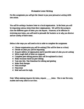 Argumentative or Persuasive Letter to Business