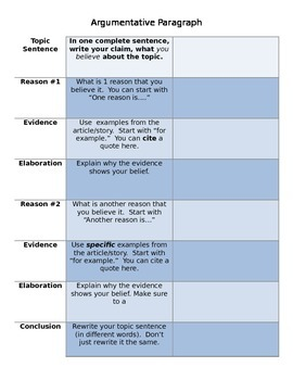 Graphic Organizer for Citing Evidence