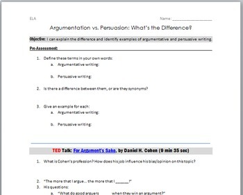 Argumentative vs. Persuasive Writing: FREE Lesson/ TED Guided Notes