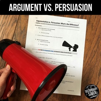 Argumentative vs. Persuasive Writing: FREE Lesson/ TED Gui