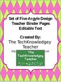 Argyle Binder Covers - Editable