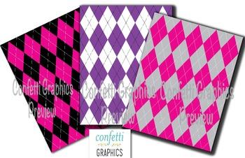 Argyle Digital Paper Pack Scrapbook Printable Background Pink Purple Grey Preppy