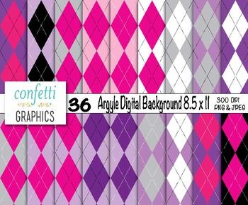 Argyle Digital Paper Pack Scrapbook Printable Background P