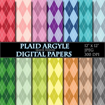 Argyle Digital Papers Plaid Scrapbooking Rainbow Background Printable
