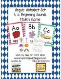 Argyle Print Alphabet Set & Beginning Sounds Match Game