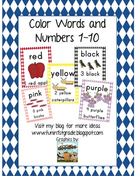 Argyle Print Color Words & Numbers 1-10