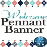 Welcome! Banner Pennants -- Blue Pink Navy White