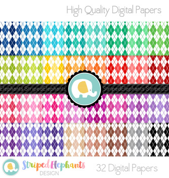 Argyle White Digital Papers