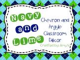 Argyle and Chevron Classroom Decor {Navy Blue and  Lime Green}