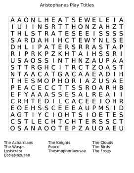 Aristophanes Play Titles Wordsearch Puzzle