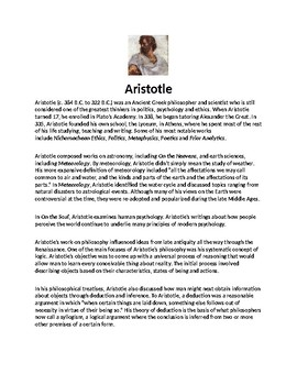 Aristotle Article Biography and Assignment