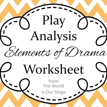 Elements of Drama Aristotle Based Play Analysis Writing Assignment Worksheet