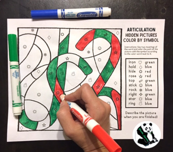 Aritculation Color by Symbol Hidden Images A Speech Therapy Activity (Christmas)