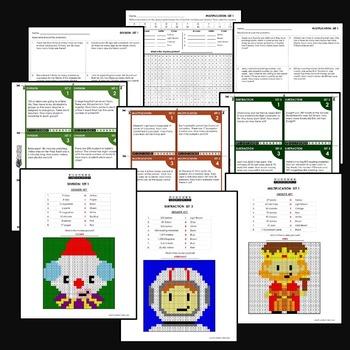 Arithmetic Basic Operations (+, -, x, /) Bundle, 4th Grade Math Centers
