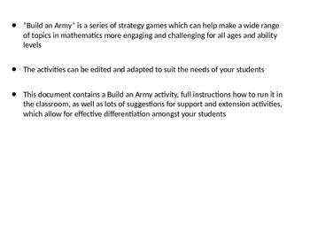 Arithmetic Activity: Build an Army