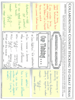 Arithmetic & Geometric Sequences Collaboration Activity with Stickie Notes