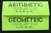 Arithmetic & Geometric Sequences (Foldable)