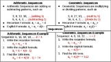 Arithmetic & Geometric Sequences Graphic Organizer