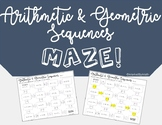 Arithmetic & Geometric Sequences Maze