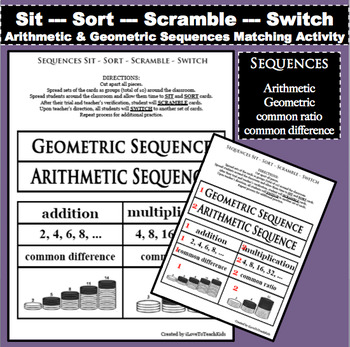 Arithmetic & Geometric Sequences - Sit Sort Scramble Switch - Game Learning