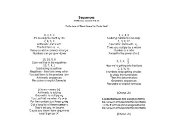 Arithmetic & Geometric Sequences Song (Lyrics only)