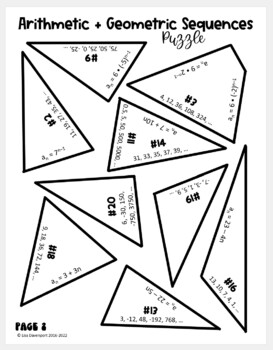 Arithmetic & Geometric Sequences (Star- Shaped Puzzle)
