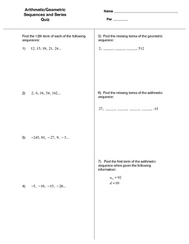Arithmetic/Geometric Sequences and Series Quiz