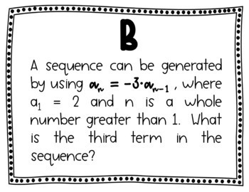 Arithmetic & Geometric Sequences w/Explicit & Recursive Formulas Scavenger Hunt