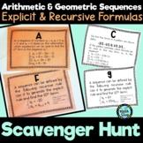 Arithmetic & Geometric Sequences w/Explicit & Recursive Formulas Scavenger Hunt