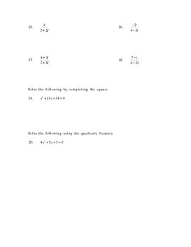 Arithmetic on complex numbers