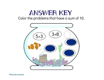 Arithmetic Practice Printables - Aquarium Seek and Find!