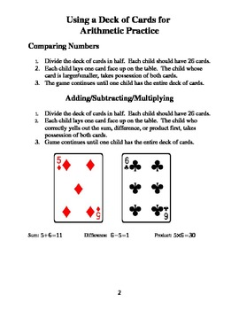 Arithmetic Practice with a Deck of Cards