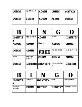 Arithmetic Properties Bingo