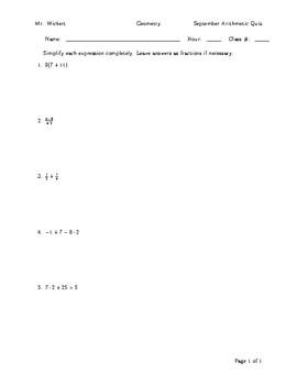 Arithmetic Quizzes