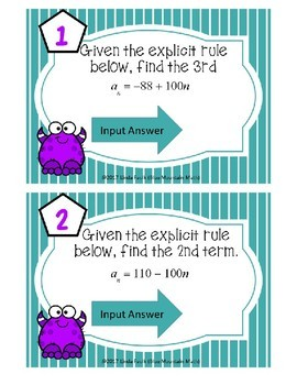 Arithmetic Sequence--Finding Terms Given Rule Boom Cards--Digital Task Cards